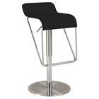 Swivel Stool - Low Back, Black Seat, Brushed Stainless Steel Base