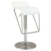 Swivel Stool - Low Back, White Seat, Brushed Stainless Steel Base