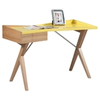 Office Desk - 1 Drawer, Glossy Yellow Lacquer
