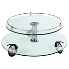 Coffee Table - Swivel Top, Chrome Supporter, Clear