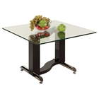 Fenya Square Lamp Table - Glass Top, Black and Chrome Base
