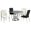 Janet Round Dining Table - Clear Crackled Glass Top, Stainless Steel Base