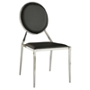 Lisa Side Chair - Oval Shaped Back, Faux Leather, Black (Set of 4)