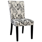 Misty Side Chair - Black & White Abstract Upholstery