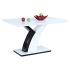 Natasha Rectangular Dining Table - Y Shaped Base, Gloss White and Black