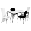 Teresa 5 Piece Contemporary Dining Set - White Glass Top