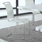 Valentina Leatherette Side Chair - White, Brushed Stainless Steel (Set of 2)
