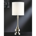 Brushed Nickel Table Lamp with White Drum Shade