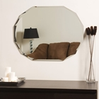 Oval Shaped Frameless Wall Mirror