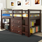 Nicolai Low Twin Size Loft Bed - Roll-Out Desk, Chest, Dark Cappuccino