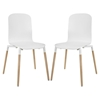 Stack Dining Chair - Wood Legs, White (Set of 2)