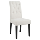 Confer Fabric Side Chair - Button Tufted, Beige