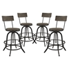 Procure Backrest Bar Stool - Metal Base, Brown (Set of 4)