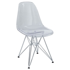 Eiffel Plastic Dining Chair - Chrome Steel Base, Clear