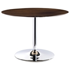 Rostrum Round Dining Table - Chrome Steel Base, Walnut Top