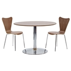 Rostrum 3 Piece Round Dining Set - Chrome Steel, Walnut