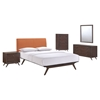 Tracy 5 Pieces Queen Bedroom Set - Cappuccino, Orange