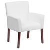Leather Executive Chair - Mahogany Legs, White