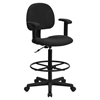 Fabric Drafting Chair - Height Adjustable Arms, Black