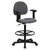 Fabric Drafting Chair - Height Adjustable Arms, Gray