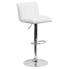 Faux Leather Adjustable Height Barstool - White