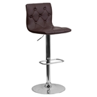 Faux Leather Barstool - Brown, Button Tufted, Adjustable Height