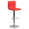 Faux Leather Barstool - Red, Button Tufted, Adjustable Height
