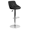 Adjustable Height Barstool - Bucket Seat, Black, Faux Leather