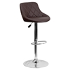Adjustable Height Barstool - Bucket Seat, Brown, Faux Leather