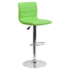 Adjustable Height Barstool - Faux Leather, Green
