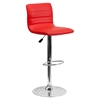 Adjustable Height Barstool - Faux Leather, Red