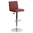 Adjustable Height Barstool - Burgundy, Faux Leather