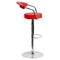 Adjustable Height Barstool - Armrests, Red, Faux Leather - FLSH-CH-TC3-1060-RED-GG