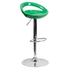 Plastic Adjustable Height Barstool - Backless, Green