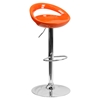 Plastic Adjustable Height Barstool - Backless, Orange