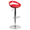 Plastic Adjustable Height Barstool - Backless, Red