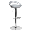 Plastic Adjustable Height Barstool - Backless, Silver