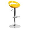Plastic Adjustable Height Barstool - Backless, Yellow