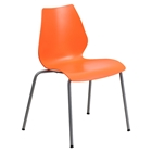 Hercules Series Stack Chair - Lumbar Support, Silver Frame, Orange