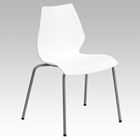 Hercules Series Stack Chair - Lumbar Support, Silver Frame, White