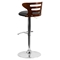 Adjustable Height Barstool - Black Seat, Walnut Bentwood, Cutout Back - FLSH-SD-2019-WAL-GG