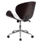 Mid Back Conference Chair - White Leather, Mahogany, Swivel - FLSH-SD-SDM-2240-5-MAH-WH-GG