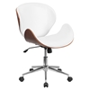 Mid Back Conference Chair - White Leather, Walnut, Swivel