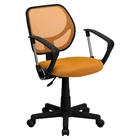 Swivel Task Chair - Low Back, Arms, Orange