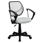 Swivel Task Chair - Low Back Arms, White