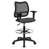 Mid Back Mesh Drafting Chair - Swivel, Gray, Height Adjustable Arms