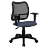 Mid Back Mesh Task Chair - Swivel, Navy, Height Adjustable Arms