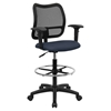 Mid Back Mesh Drafting Chair - Swivel, Navy, Height Adjustable Arms