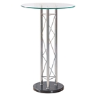 Rylee Bar Table in Clear/Black, Chrome Legs