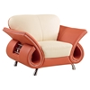 Wesley Leather Chair in Beige and Orange